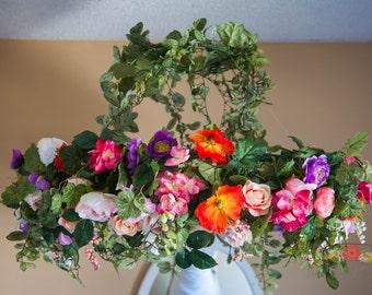 Large Flower Chandelier - Wedding Decor - Faux Flower Chandelier