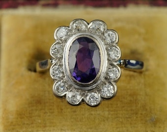 Fine Art Deco amethyst and diamond Austro Hungarian ring