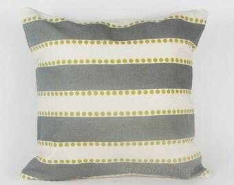 "Grey PILLOW COVER.Mustard Stripped Pillow-Throw Pillow- Mustard / White Stripe, Trellis.16"",17"",18"",20"" 24"" 26"", Lumbar Pillow or Euro Sham"