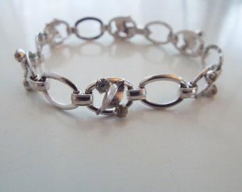 Pretty Old Signed Krementz Silver and Rhinestone Bracelet