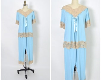 Vintage 1950s 50s Blue Pajamas with Lace Dead Stock NOS Avian Lingerie