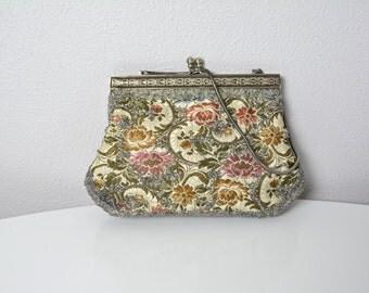 Vintage 1950s 50s Beaded Floral Tapestry Purse Clutch Handbag