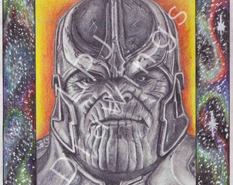 Thanos Graphite & Colour pencil A4 drawing