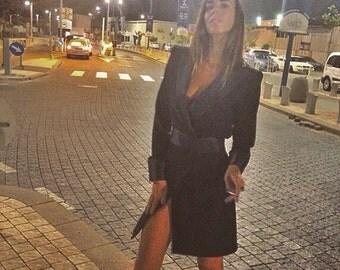 Black, Black Jacket Dress, Black Women Dress, Jacket Dress