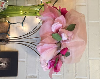 1950s/60s Vintage CHRISTIAN DIOR Hat chapeaux Pink Flowers PARIS New York Straw & Chiffon