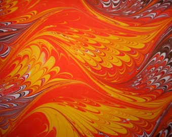 """Hand-Marbled Paper - Reds, oranges, yellow, brown: """"Pasodoble"""". For Book endpapers, paper arts, collage, bookbinding."""