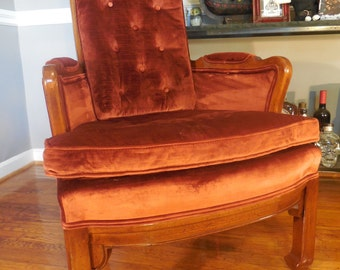 Mid Century Hollywood Regency High Back Crushed Velvet Tufted Chair *FREE SHIPPING*