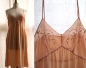 Vintage 1930's Silk slip, embroidered, peach color.