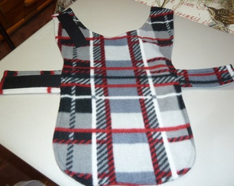 """Extra Small Winter Plaid Fleece Dog Coat in Black, White, Gray and Red (16"""" Long)"""