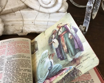 Wood and Leather Bible New Testament Bible Gift 1959 Color Illustrations