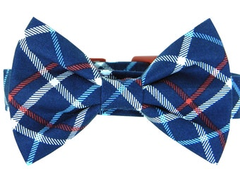 Red, White and Blue  Plaid Bow Tie Dog Collar; Dog Bow Tie and Collar: Patriot Plaid