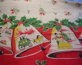 Vintage 1950's Holiday Christmas Red, Green, Yellow, Black Holiday Shoppers, Bells Border Fabric