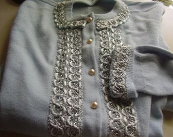 Vintage 1950's Sock Hop Rockabilly Baby Blue Orlon Satin Trim Sweater, Size Small
