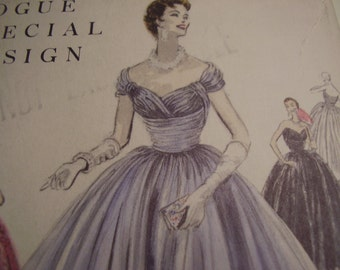 Vintage 1950's Vogue 4540 Special Design Evening Gown Sewing Pattern, Size 12, Bust 30