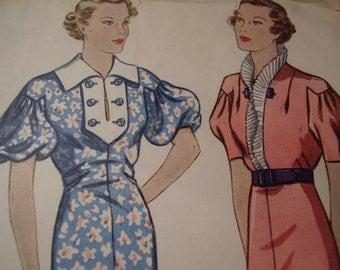 SALE Vintage 1930's Simplicity 2098 Dress Sewing Pattern, Size 16, Bust 34