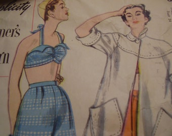 Vintage 1950's Simplicity Beach Coat and Two-Piece Bathing Suit Bombshell Pin Up STyle, Size 16, Bust 34