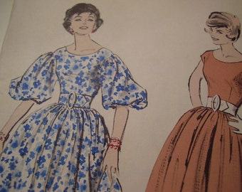 Vintage 1950's Advance 8984 Dress Sewing Pattern, Size 16 Bust 36 or Size 14, Bust 34