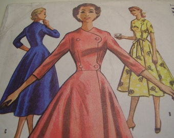 Vintage 1950's McCall's 3884 Housecoat or Negligee Sewing Pattern, Size 14, Bust 34