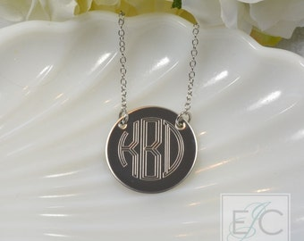 "Engraved 1"" circle monogram necklace, gorgeous quality by ElizaJayCharm"