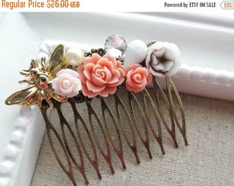 ON SALE Peach Roses and a Plump Bumble Bee Hair Comb. OOAK, Wedding, Everday.