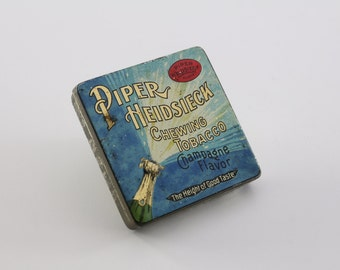 Vintage Piper Heidsieck Chewing Tobacco Champagne Flavor - Art Deco Tobacco Tin