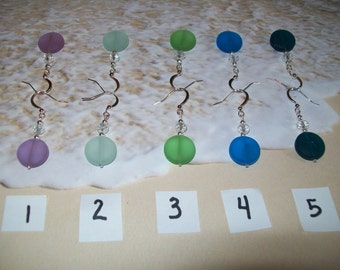 Puffed coin sea glass earrings, free shipping in US