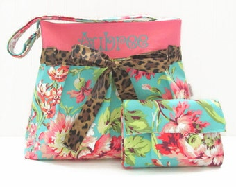 Personalized Large Diaper Bag in Amy Butler Bliss Floral for Girl with Cheetah Bow with Matching Changing Pad Monogrammed Nappy