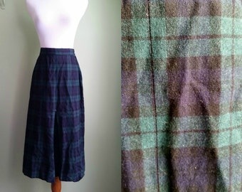 1940s/50s Navy and Forest Green Plaid Pendleton - Wool Skirt - Small