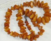 "Vintage Butterscotch Egg Yolk Amber Chunks 20"" Necklace Sterling Silver Clasp"