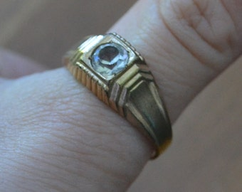 Fabulous edwardian art deco gold filled mens ring with white diamond rhinestone / mens / BRWQHJ