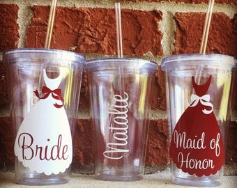 Set of 3 Wedding Tumblers, Wedding Cups, Bridesmaid Cups, Bridesmaid Tumblers, Bridesmaid Gift, Bridal Party Cups