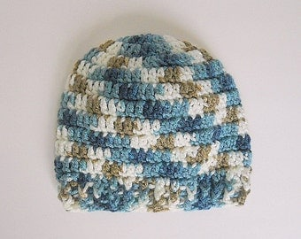 3 To 9  Month Old Baby Boy  Cap  Infant Girl Fall Beanie 6 Months Old Child Hat Blue Tan White Handmade Children Clothing