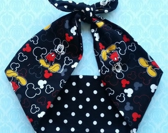mickey mouse  rockabilly  bandana,  rockabilly pin up psychobilly  hairband headband