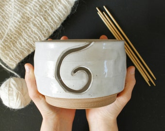 Pottery Yarn Bowl // Ceramic Knitting Bowl