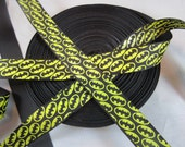 "Batman, Super hero, White Black yellow Ribbon, Craft Supply, Glitter, Sewing, Grosgrain ribbon, Craft Supplies, Ribbon Shop, 7/8"" RN15156"