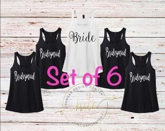 Bridal Party Shirts/SET OF 6 Bridesmaids  Tank Tops/Bachelorette Party Shirts/Bridesmaids Gifts/Maid of Honor Gift/Wedding Gifts