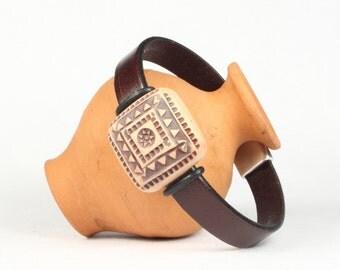 Brown leather bracelet, Tribal bead bracelet, Magnetic clasp, CarolMade L52