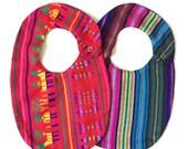 2 Pack Serape Baby Bibs- Red Black - Mexican Blanket Bib