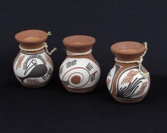 OOAK Studio Pottery Vases - Set of Three (3) Terra Cotta Vases with Heiroglyphic Style Art - Vintage Primative - Exotic - Ancient Home Decor