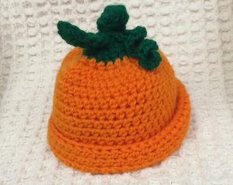 Newborn Crocheted Pumpkin Hat