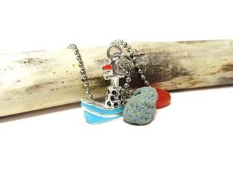 Tugboat Blues/Leland Blue Stone/Enamel Tugboat Charm/Lake Michigan Bluestone/30 Inch Necklace/Red Glass Bead/Nautical Necklace