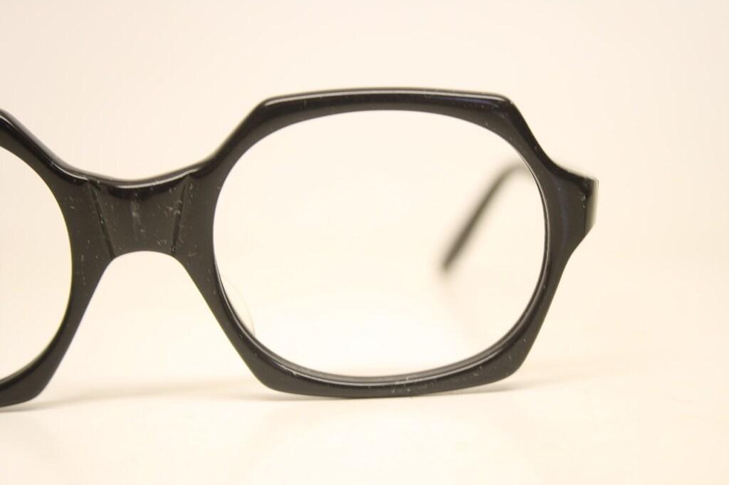 Vintage Eyeglass Frames New Old Stock : Vintage Eyeglasses Black New Old Stock 1970s Retro Eyeglass