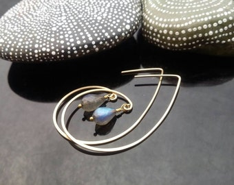 Gold filled whimsical hoop earrings with blue flash Labradorite gemstones
