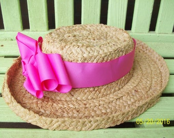 Straw Hat accented with Wide Pink Gorgrain Ribbon