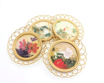 Vintage Rattan Coasters, Drink Coaster Set, Japanese Coasters, Outdoor, Bamboo Coasters, Drink Holders, Asian Flowers and Birds, Epsteam