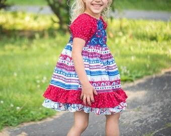 Girls Patriotic Dress - Girls Ruffle Dress - Nautical Dress - Peasant Ruffle Dress - Red and White Dress - Blue Dress - Toddler Dress