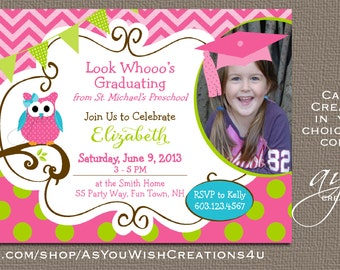 Owl Preschool or Kindergarten Graduation Invitation or Owl Graduation Announcement Photo Card Chevron Polka Dots - Owl Grad Announcement Cap