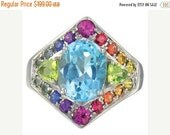 Valentines Day Sale Multicolor Rainbow Sapphire, Blue Topaz and Peridot Fashion Ring 925 Sterling Silver (4.4ct tw)  : sku 1569-925