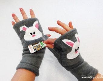 Custom Bunny Fingerless Gloves with Pockets