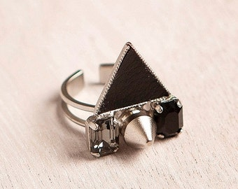 BIG SALE statement silver ring-unique geometric ring. silver ring, inlaid with black diamond color Swarovski Crystals